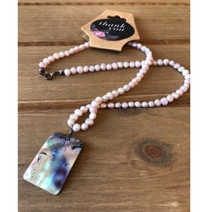 """Pearl Necklace with Iridescent Abalone Pendant 10"""""""